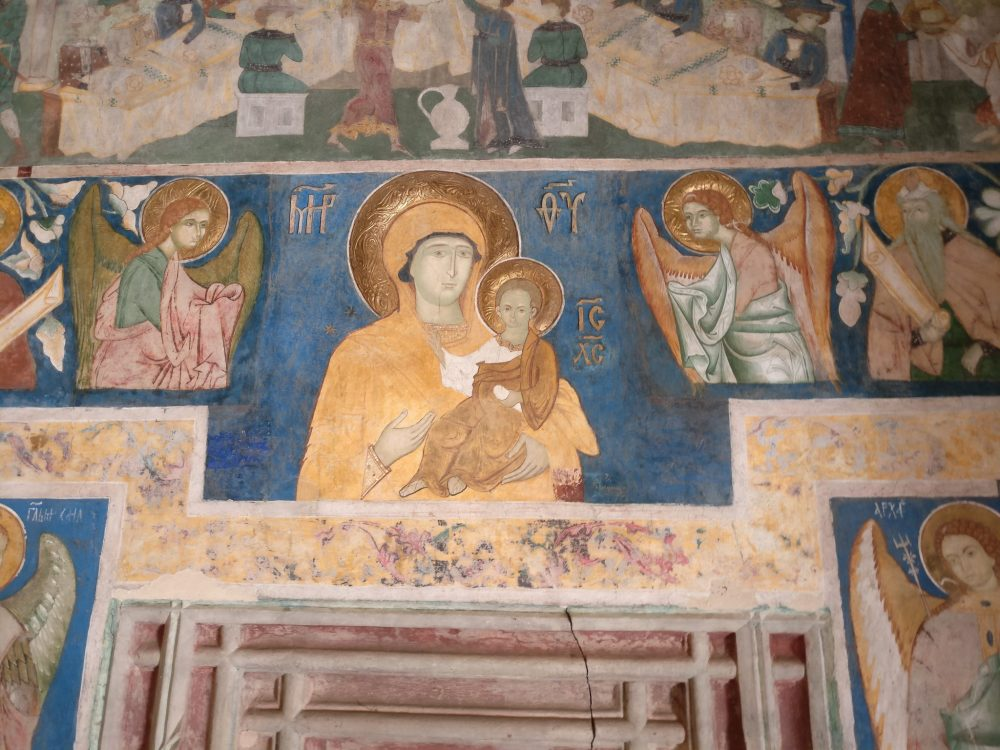 A Madonna and Child image inside the church at Arbore. The Spectacular Painted Churches of Moldavia.