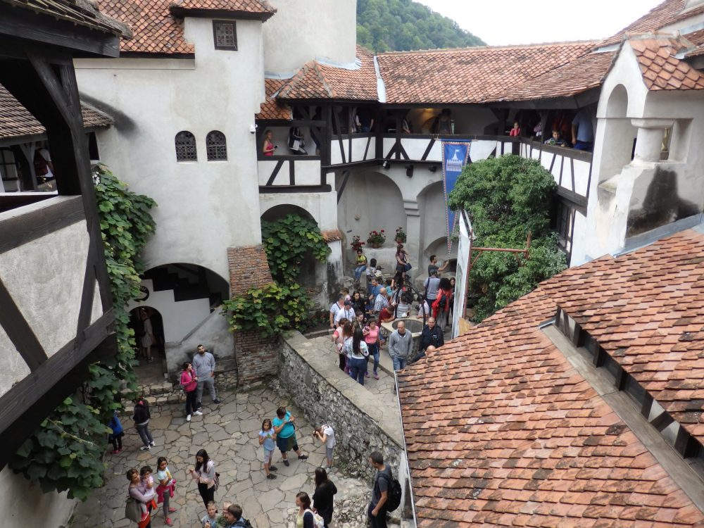 looking down into the courtyard of Bran Castle: Should you visit Dracula's castle?
