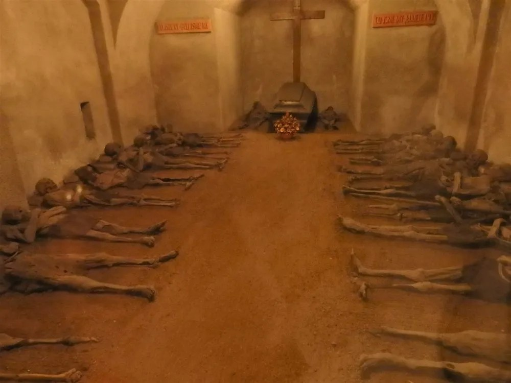 The room where the monks were laid to rest in the Capuchin crypt. Macabre sightseeing in Brno.