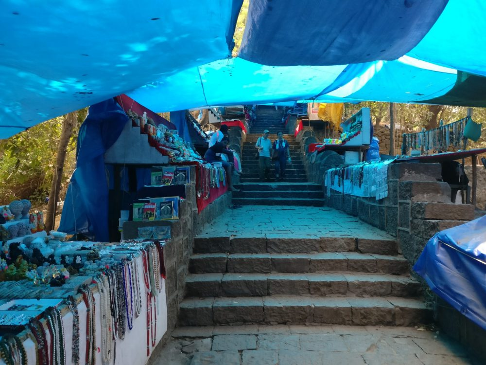 The stairway path where this happened. Elephanta Island travel guide.