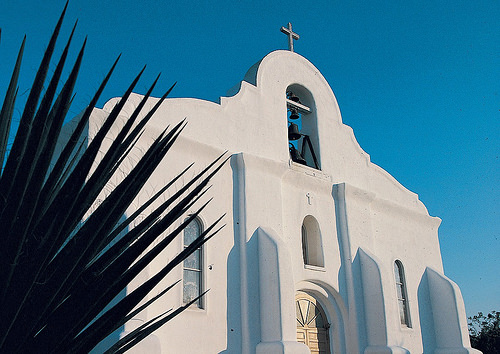 Another elegant mission building at San Elizario. Image via Flickr by VisitElPaso