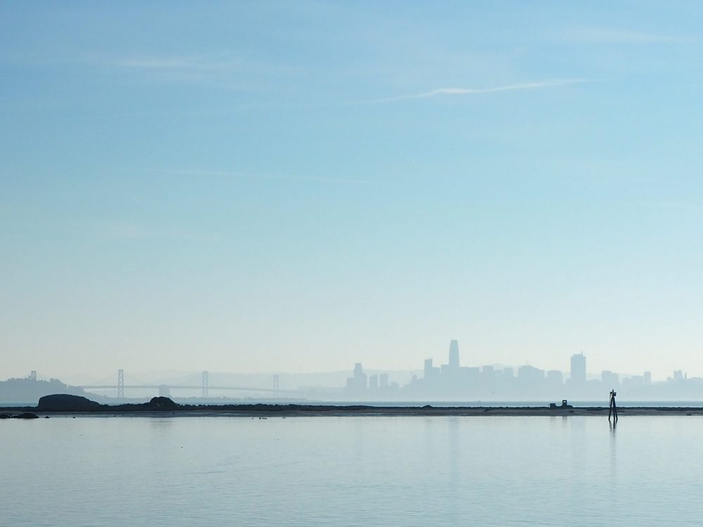 View of the San Francisco skyline from the Rosie the Riveter Museum in Richmond.