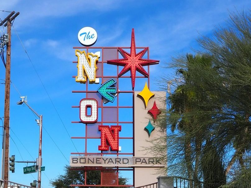 he sign for the Neon Museum Las Vegas is made up of several of the common Vegas fonts.