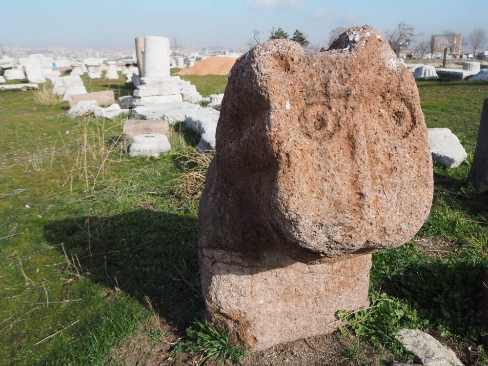 The figure is a head of an animal looking much like a moomin. It's very simply carved in red stone, quite eroded, so only round circles for the eyes and a shallow straight nose are still visible. Behind is a row of carved fragments of columns, all in a white stone.
