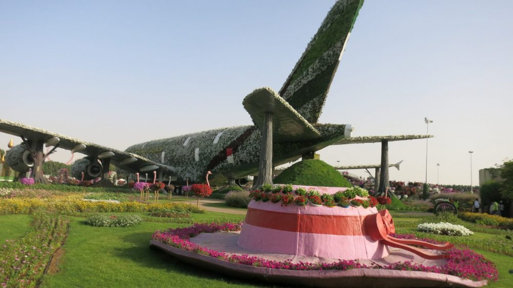 In the background, a full-size A380 airplane on the ground, covered in green short plants. It points away from the camera. Along its side is a row of ostriches; their bodies are covered in colorful flowers. In the foreground, a huge hat with a wide brim. It is pink with a red ribbon around it, and a circle of flowers around the edge of the brim and on the top.