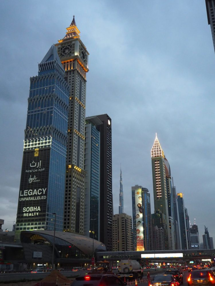 An Evening View Of Sheikh Zayed Road In Dubai You Can See The Narrow Tower