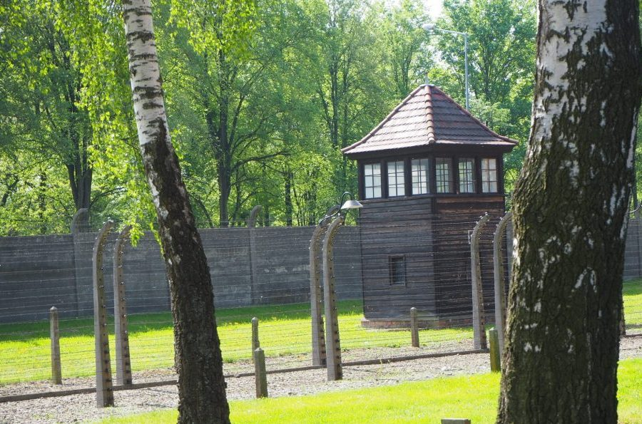 Guardhouses and rows of barbed wire edge Auschwitz I and Auschwitz II.