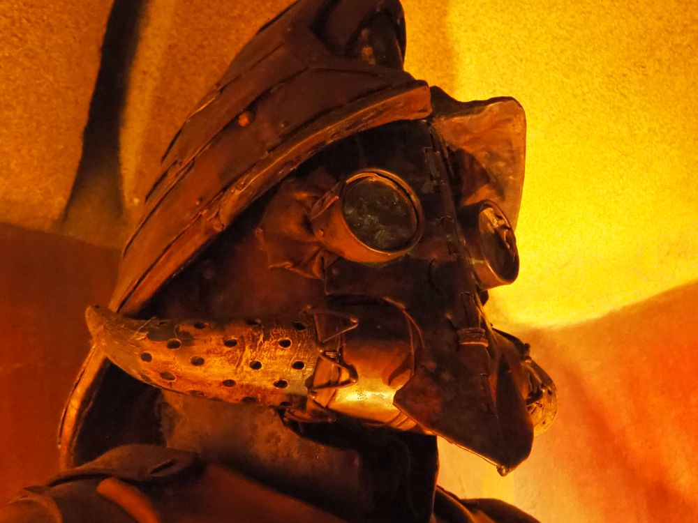 """a close-up of a """"mining suit"""" at the Lost Chambers Aquarium"""
