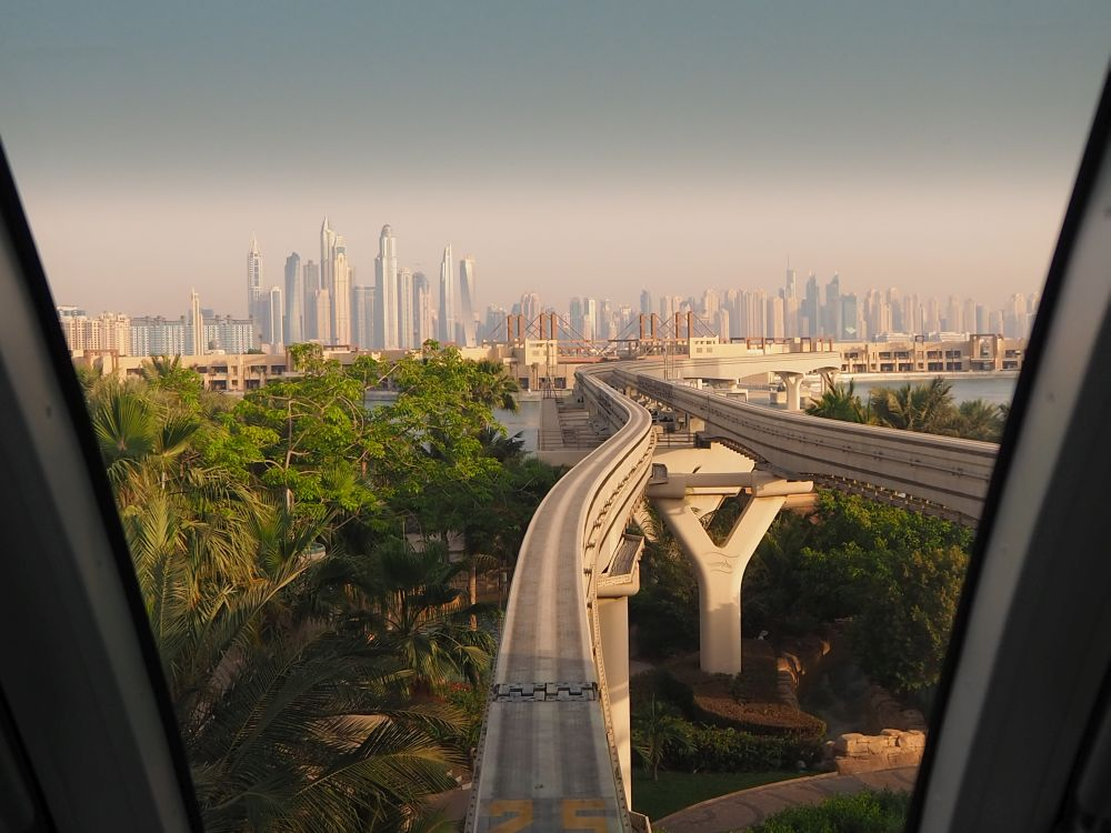 Because it's driverless, you can look straight out the front of the monorail, which gives a great view of the city as you leave the Palm.