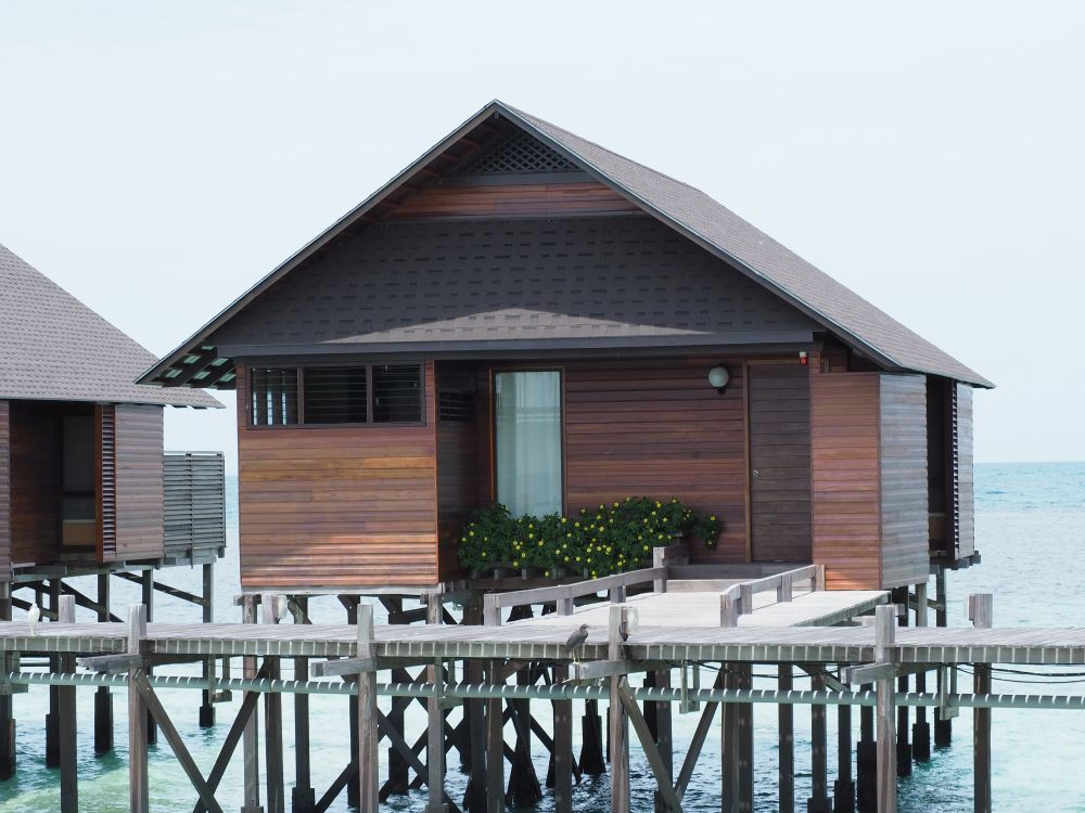 A completed over-water bungalow at Lankayan Island.