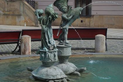 Arion's fountain is on Upper Square in Olomouc, very near the UNESCO site Holy Trinity Column.