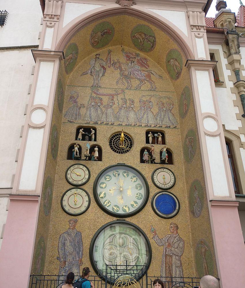 This astronomical clock is very near Olomouc's UNESCO site: Holy Trinity Column