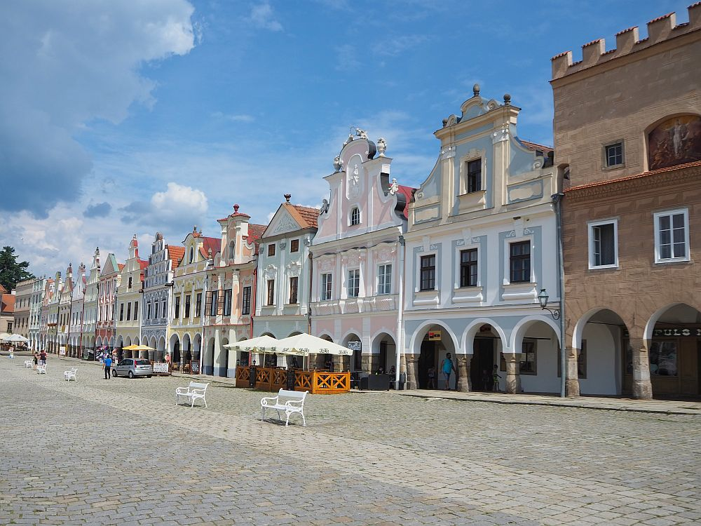 Just some of the houses lining the main square of Telc, a UNESCO site in Czechia.
