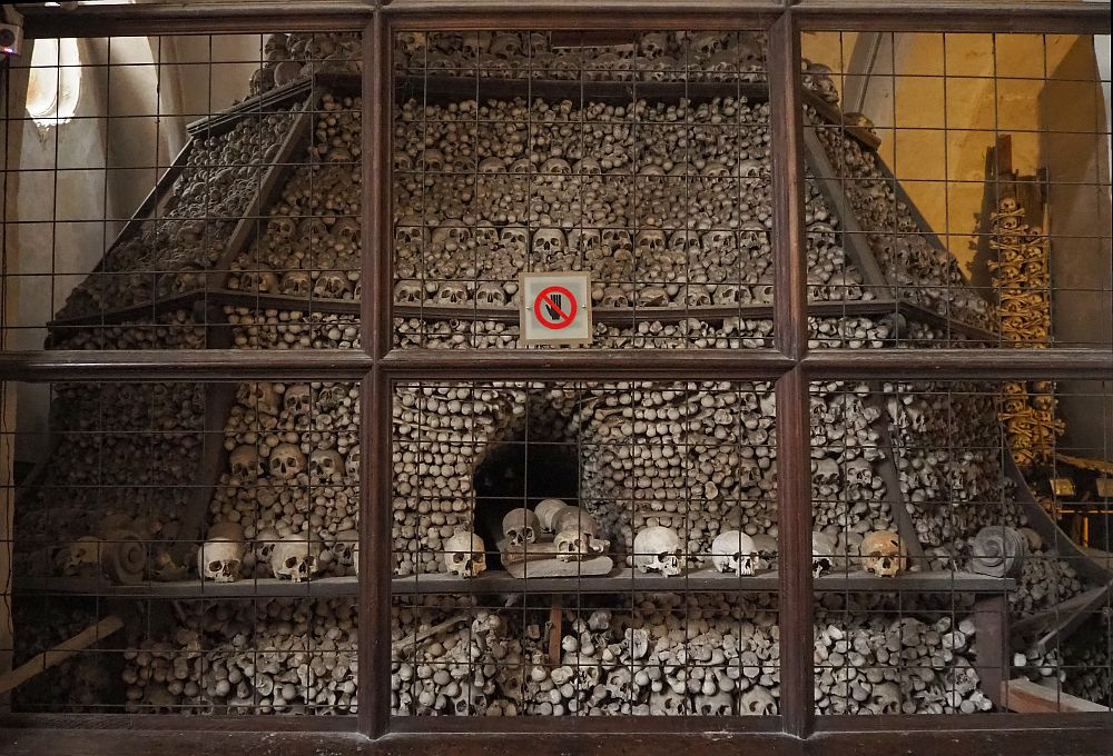 The bones are closely packed into a tall pyramid shape. An opening in the middle seems to be a small tunnel between the packed bones. Along the level of the tunnel is a line of skulls, with some also inside the tunnel entrance. It looks as if they are processing out of the pyramid. The whole thing is behind a wire mesh fence.
