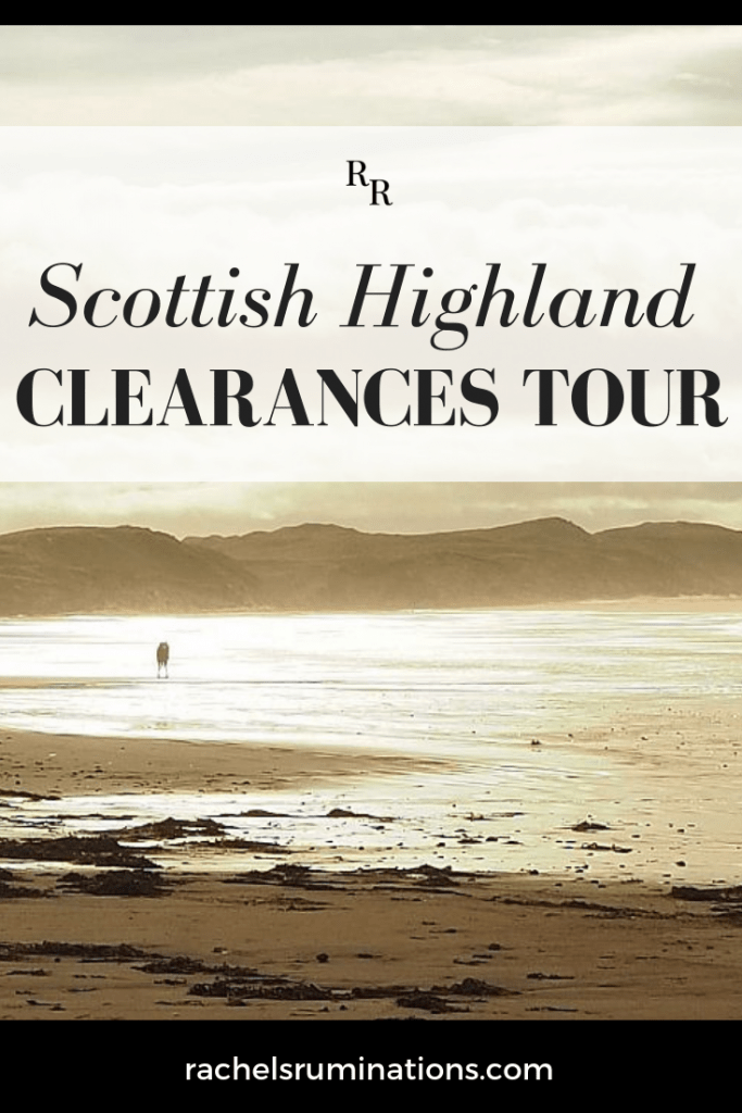 Pinnable image Text: Scottish Highland Clearances Tour Image: a beach in the evening, with a couple in the distance kissing on a sand bar.