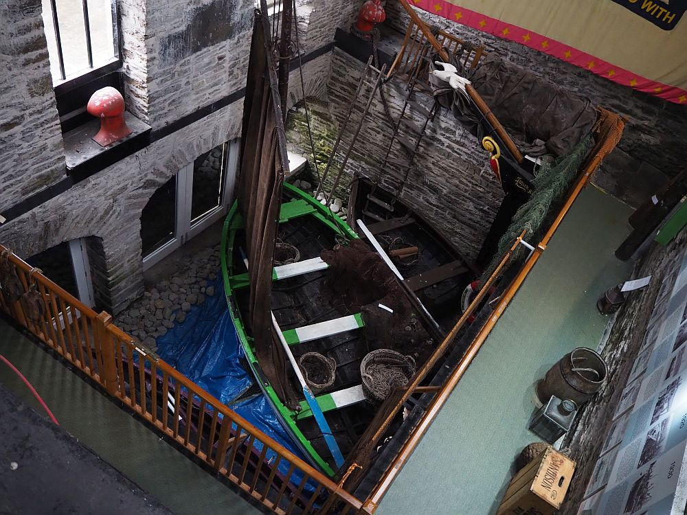 A view down at the fishing boats inside the Wick Heritage Museum.