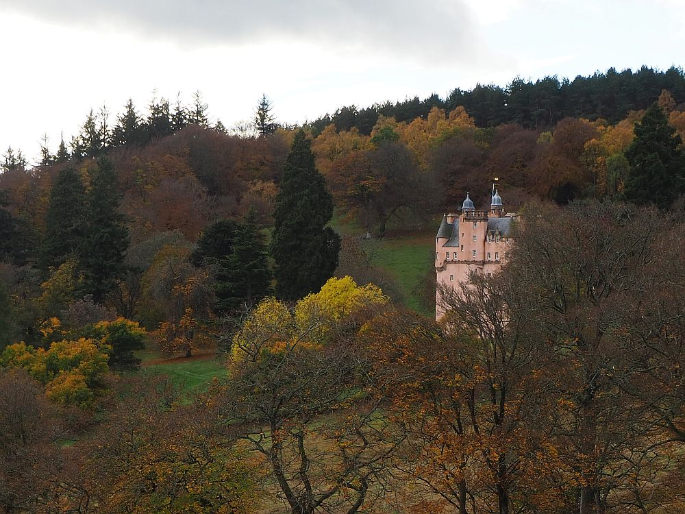 A view of Craigievar Castle from a distance