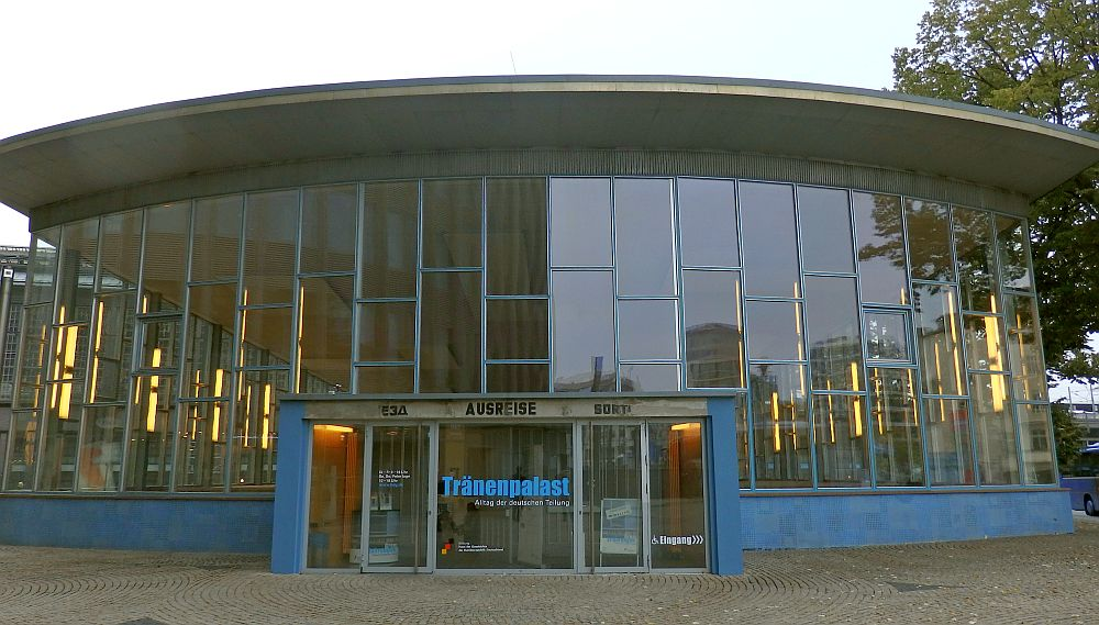 The Palace of Tears, a Cold War site in Berlin: front entrance view with lots of windows.