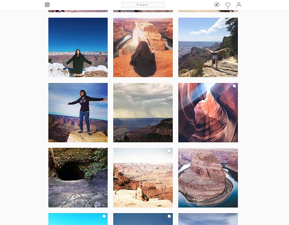 9 photos in the screen shot. 5 have people posing on the edge of the canyon, including one who's doing a handstand. The other 4 are scenery shots.