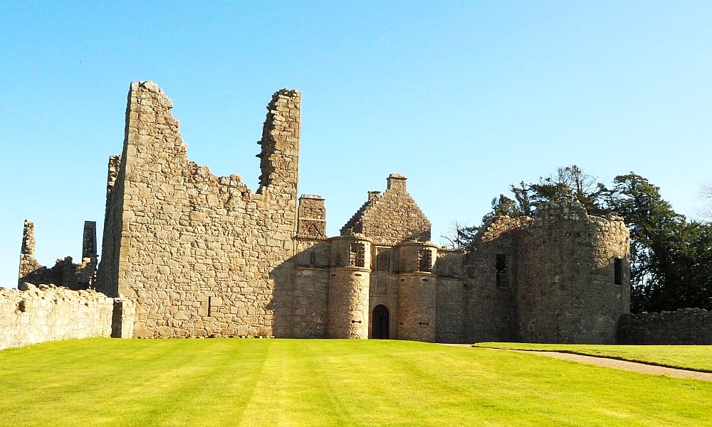 A ruined front wall of Tolquhon Castle