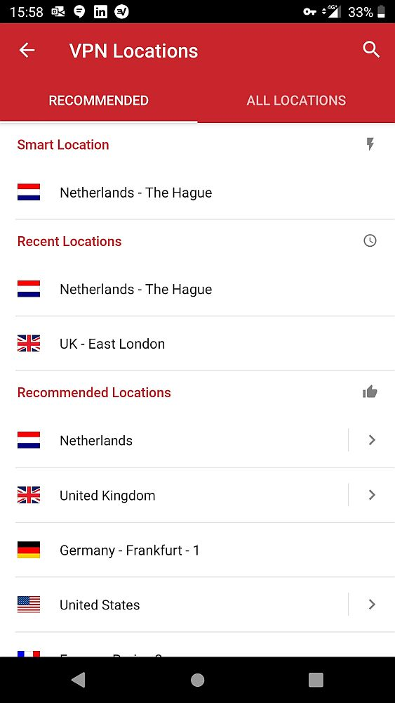 """A screenshot for this ExpressVPN review showing two tabs at the top: """"recommended"""" and """"all locations."""" It's set on the recommended tab. Below is a list of countries with their national flags:  smart location: Netherlands-the Hague recent locations: Netherlands-the Hague and UK-East London. Recommended locations: Netherlands UK Germany-Frankfurt United States"""
