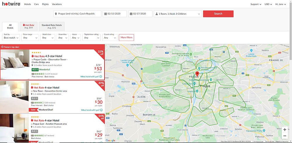 """A screenshot from Hotwire show, on the right 2/3 of the screen, a map of Prague with some light green blobs on it. On the left 1/3 are three hotel listings, each with one photo. All are """"Hot rate"""" listings, with a price, a rating, and a general location."""