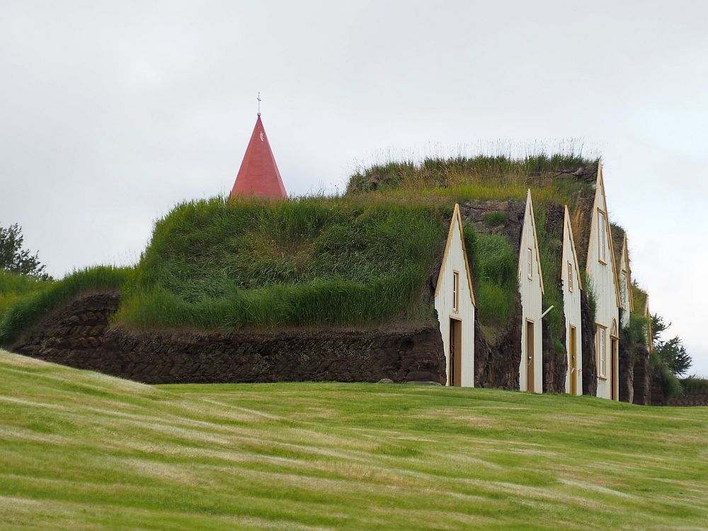 Seen from a side view, some of Glaumbaer's front gables are visible: white with a mustard-yellow trim. They vary in size, but none is more than two storeys. All are covered with grassy roofs. A red church steeple peeks up behind the turf farmhouse.