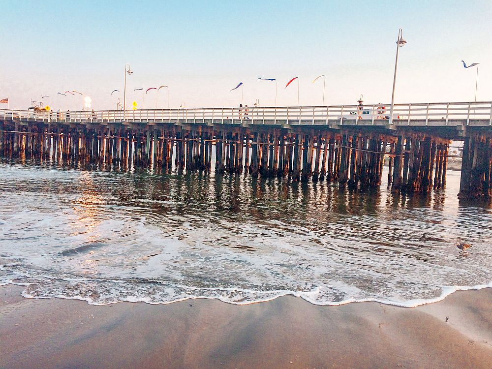 A view of a large pier: it crosses the photo horizontally, from a view below it, so the pilings holding it up are visible. In the foreground, waves on a beach.