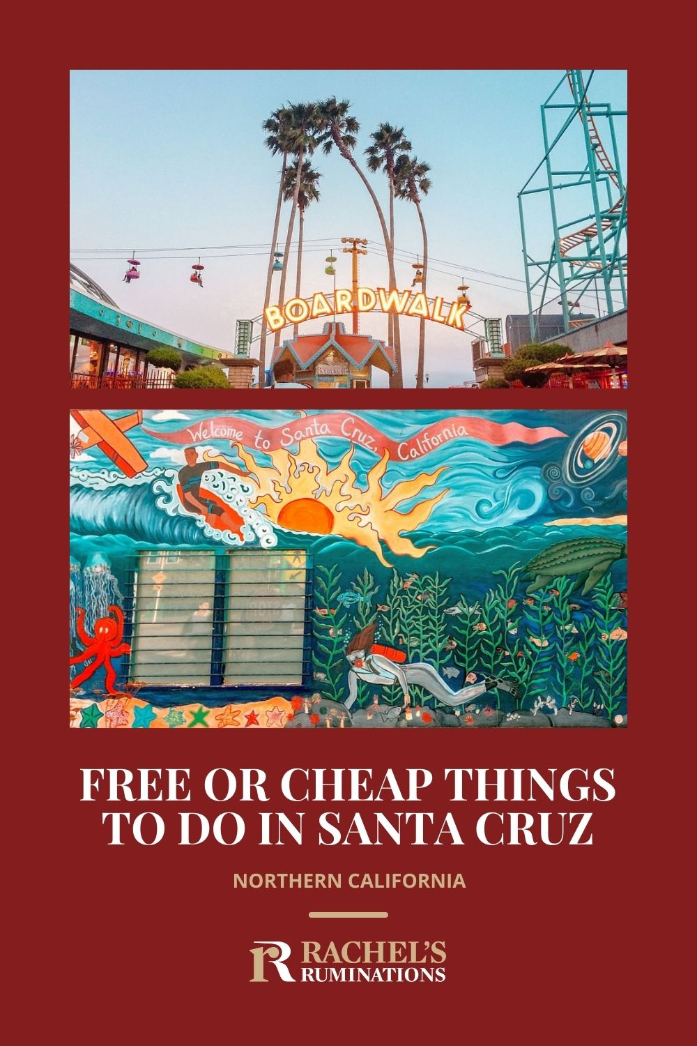 Read this list of free or cheap things to do in Santa Cruz, California, to help you keep to a budget and have a great time! via @rachelsruminations