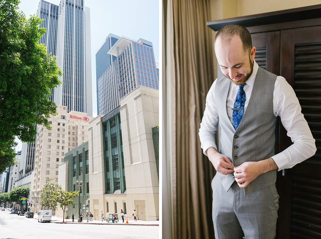 groom gets dressed at the Hilton Checkers Hotel in Los Angeles