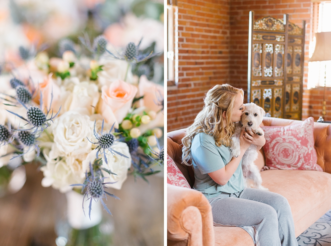 bride sits on sofa and kisses her dog, plus detail of her bouquet