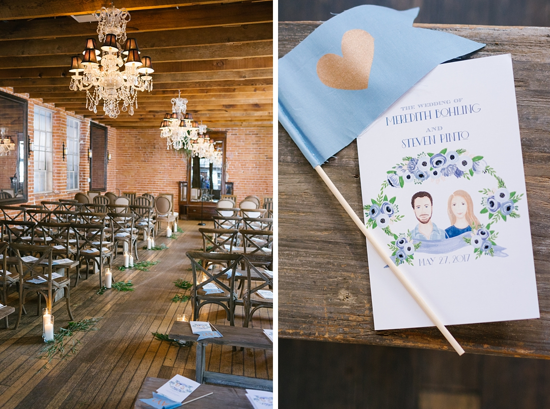 wedding program and ceremony decor with candles at carondelet house