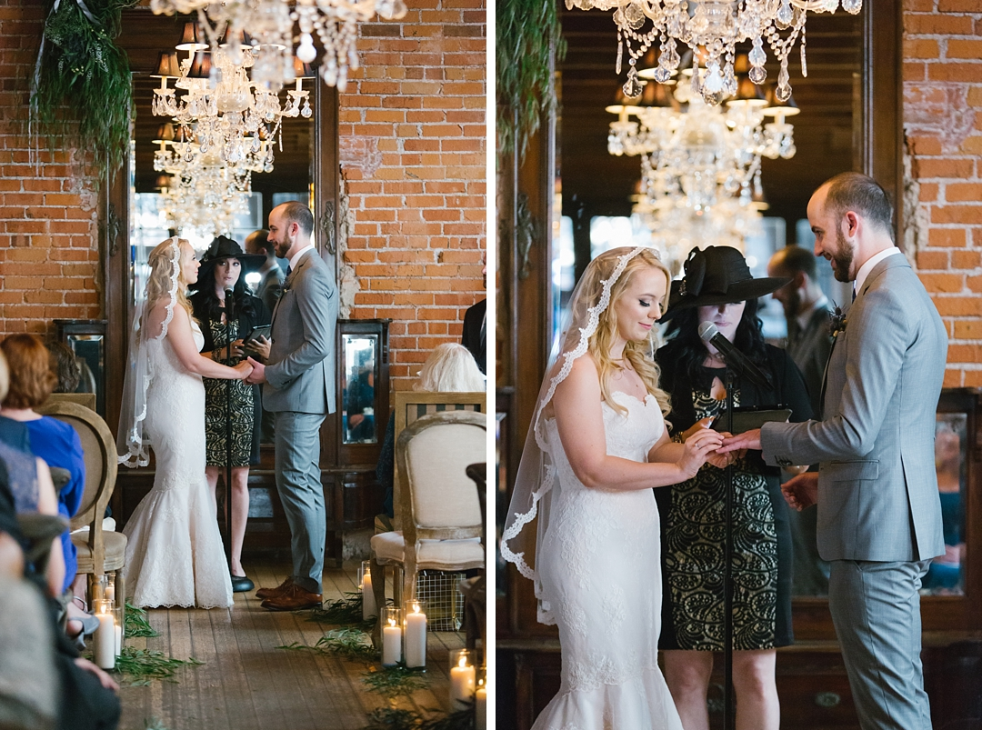 bride and groom exchange vows and rings at carondelet house