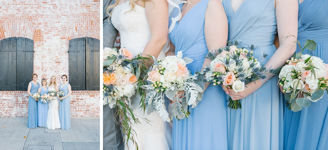 close up of bridesmaids bouquets at carondelet