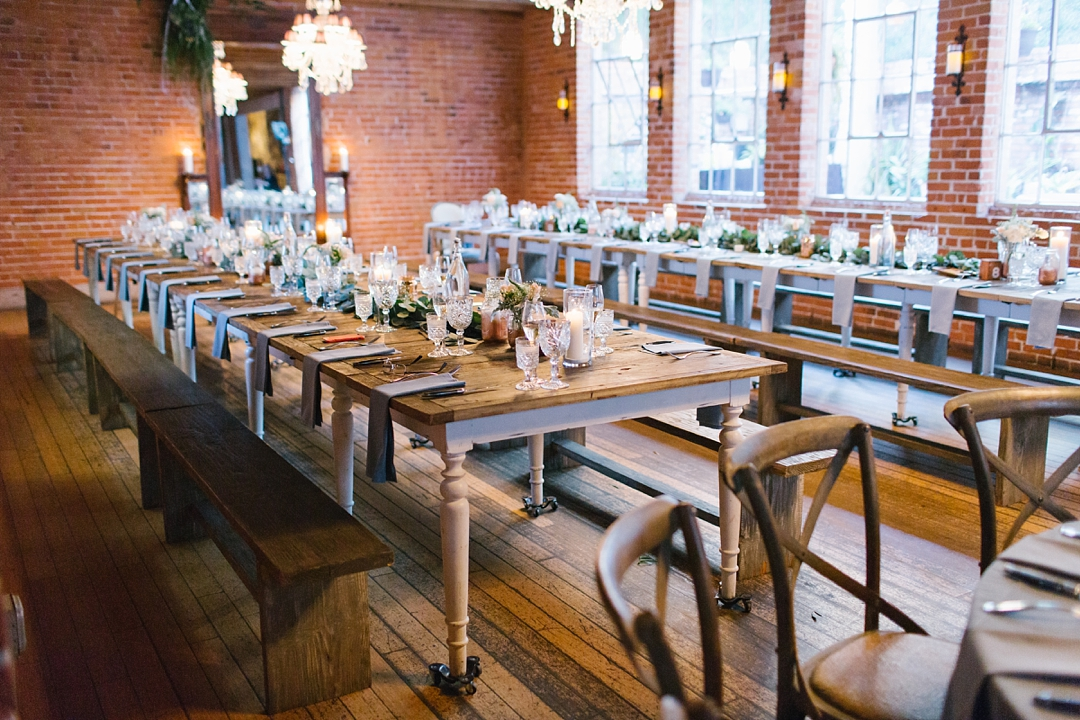 farmhouse tables and reception decor at carondelet house