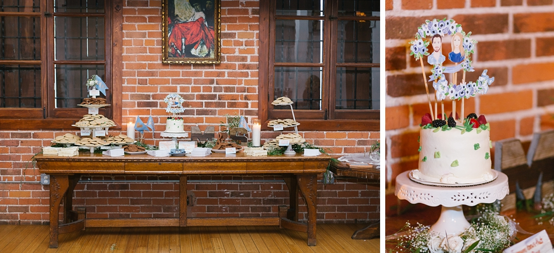 dessert table with cake and sweets at carondelet house
