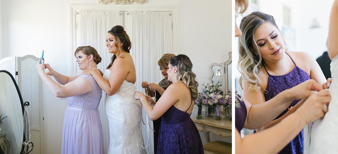 bride gets dressed at gershon bachus temecula