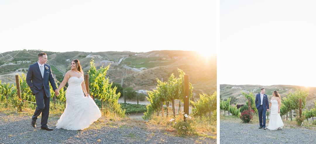 sunset in the vineyard at gershon bachus vintners wedding