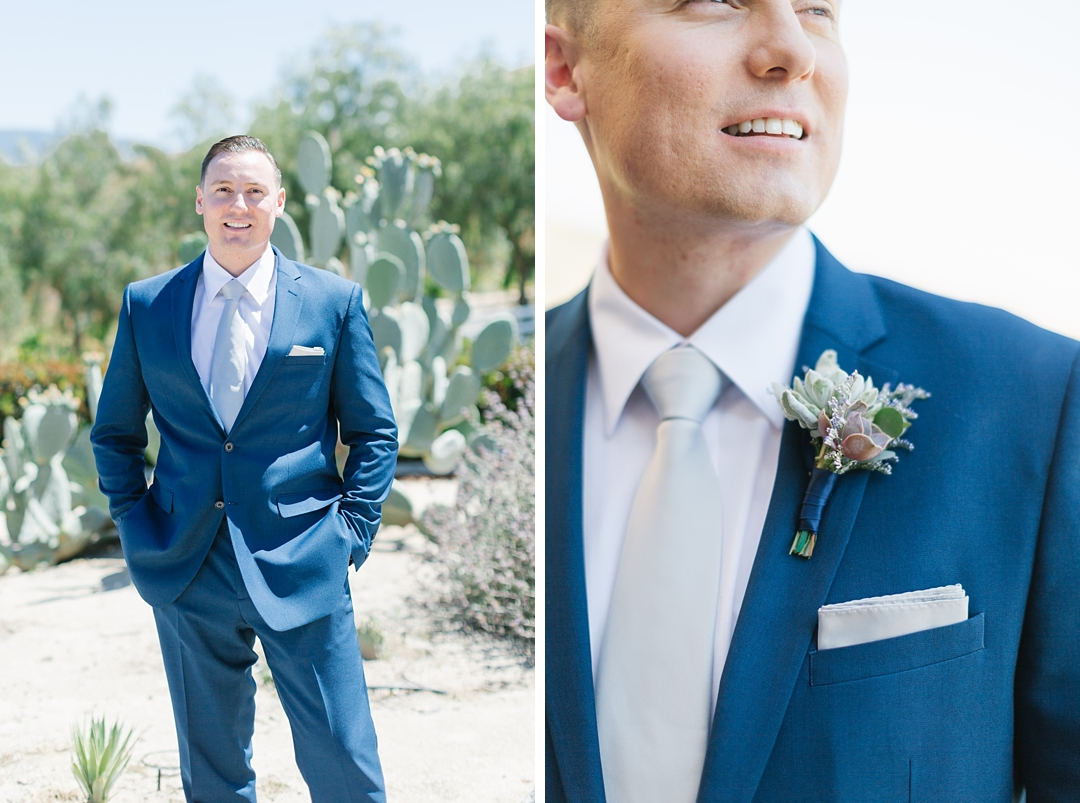 groom in blue suit, a fresh look for a summer wedding