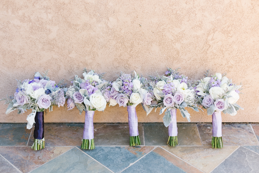 lavender and white bridesmaids bouquets