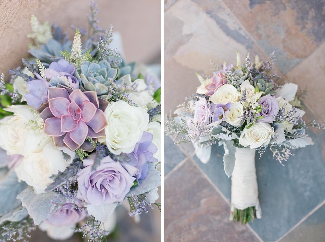 detail of purple succulent in bridal bouquet