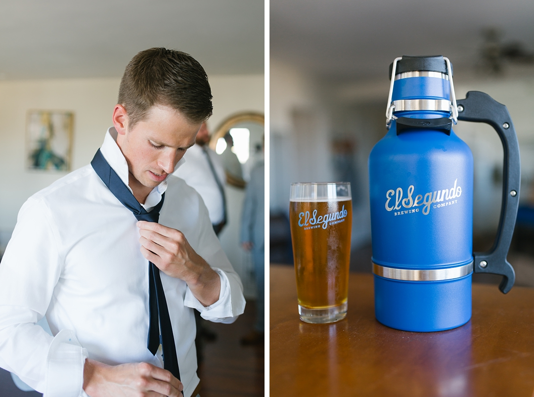 groom gets ready and detail photo of el segundo brewery beer mug gifts