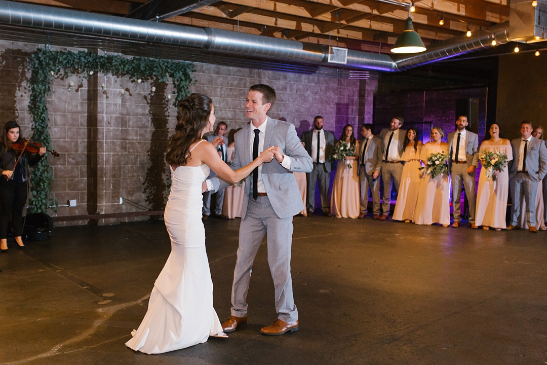 bride and groom's first dance at smoky hollow studios