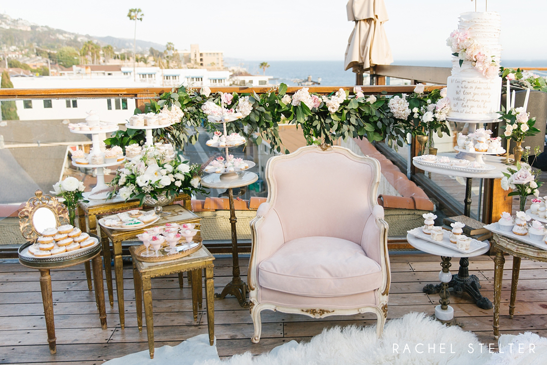 vintage rentals and elegant desserts at laguna beach bridal shower