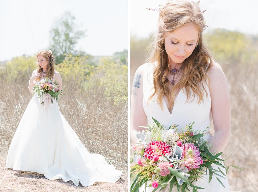 BHLDN bride at boho palos verdes wedding