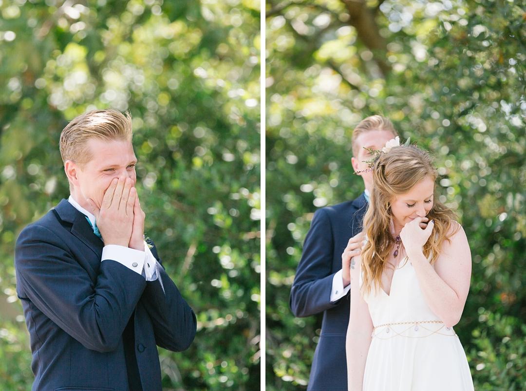 boho palos verdes wedding first look