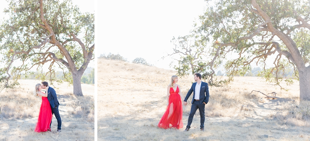 fashion forward Agoura Hills anniversary session with red dress