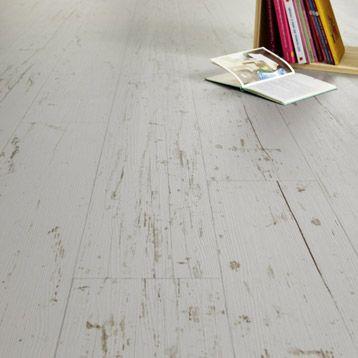 Sol vinyle lino gerflor parquet blanc usé
