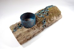 Raised vessel, patina, found wood with dapped and patinaed copper. Spring 2014