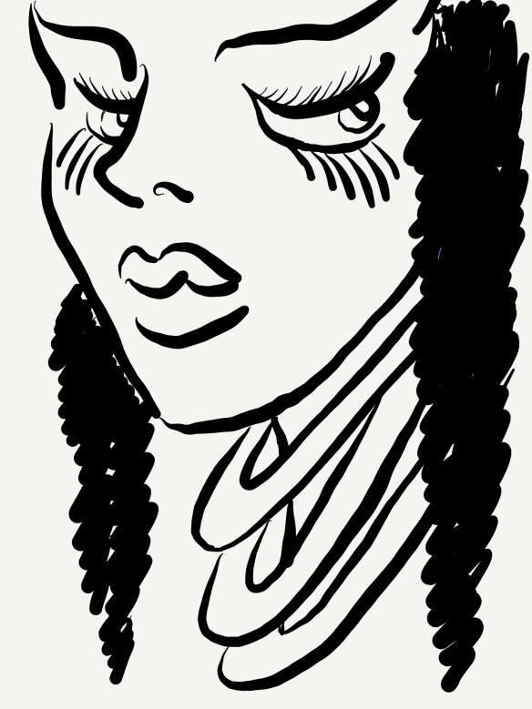 sketch of a girl with long lashes. She's looking off to the side of the sketch, with a haughty expression. She has three thick necklaces on.